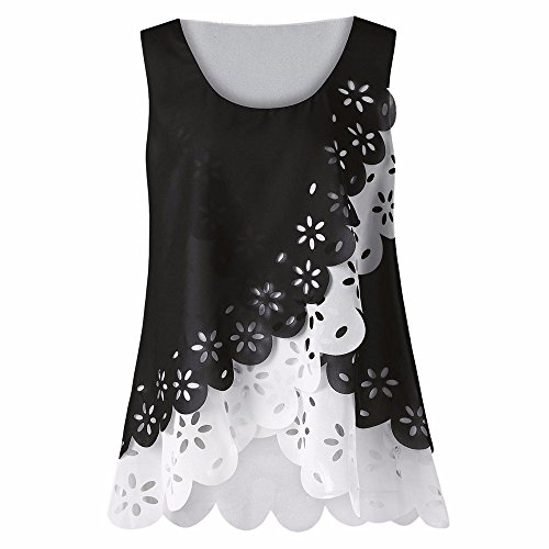 YOcheerful Womens Floral Hollow Out Blouse Chiffon Tank Tops Vest Shirt Sexy Tee(White,L)