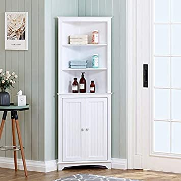 Spirich Home Tall Corner Cabinet With Two Doors And Three Tier Shelves Free Standing Corner Storage Cabinet For Bathroom Kitchen Living Room Or Bedroom White Furniture Decor