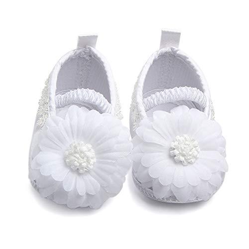 - Ruimin 1PC Baby Girl Infant Satin Shoes Satin Sticker Shoes Soft Bottom Shoe Size 10.5cm (White Sunflower)