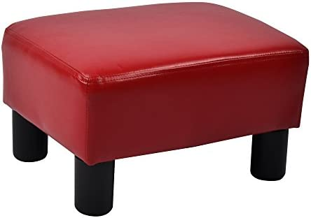 Ottoman Footrest Stool PU Leather Small Chair Seat Couch,Red