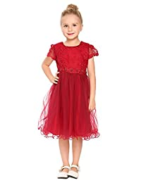 Arshiner Girls Flower Lace Dress Bow Princess Party Dresses