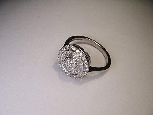Gorgeous Estate 14K White Gold Baguette Diamond Mosaic Ring