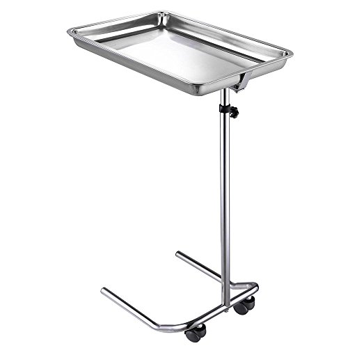 AMPERSAND SHOPS Multipurpose Rolling Stainless Steel Mayo Stand Utility Cart Adjustable Height with Casters (55.5'' Max. Height) by AMPERSAND SHOPS