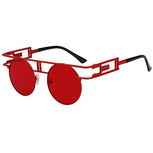 ROYAL GIRL Retro Gothic Steampunk Sunglasses For Women Men Round Vintage Hippie Glasses Circle Red - Sunglasses Regulation