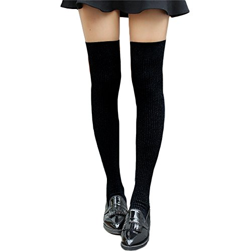 HITOP Women Thigh High Over knee Socks Boot Stocking Vertical Stripe Leg Warmer from Hitop