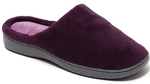 Damen Herren Wellness Soft Hausschuhe Schuhe Pantoffel Pantoletten Slipper Puschen mit fester Sohle VIELE FARBEN braun türkis rot navy lila Gr.38-45 Lila