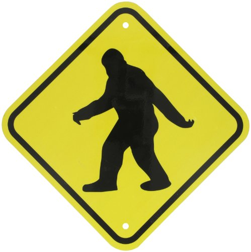 "SmartSign 3M Engineer Grade Reflective Sign, ""Sasquatch Big Foot Crossing"" with Graphic, 12"" square, Black on Yellow"