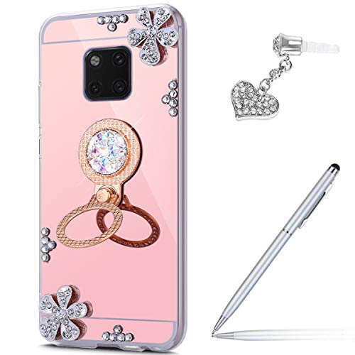 Price comparison product image Case for Huawei Mate 20 Pro Diamond Case, Crystal Inlaid diamond Flowers Rhinestone Glitter Bling Mirror Back TPU Case & Ring Stand + Touch Pen Dust Plug for Huawei Mate 20 Pro Mirror Case, Rose Gold