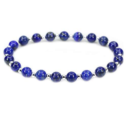 AMANDASTONES Natural A Grade Lapis Lazuli Gemstone 6mm Round Beads S925 Silver Stretch Bracelet 7