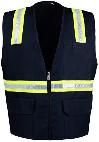 Safety Depot Safety Vest High Visibility Reflective Tape with 4 Lower Pockets, 2 Chest Pockets with Pen Dividers 8038-NV (Navy Blue, Large)