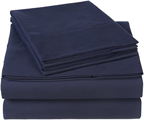 Pinzon 300 Thread Count Organic Cotton Bed Sheet Set, Queen, Navy Blue