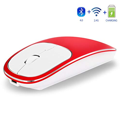 Sacherron Tech Mice Fashion Quality Rechargeable 2.4GHz Bluetooth Wireless Mouse Metal Silent Dual Mode Optical Mice Gaming Mice Office -