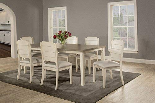 (Hillsdale Furniture 4542DT7C2 7 Piece Dining Set with Clarion Rectangle Side Chairs Sea White )