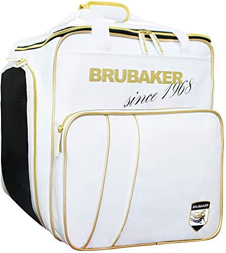 (BRUBAKER Ski Boot Bag for Boots, Helmet, Gear and Apparel - White/Golden)