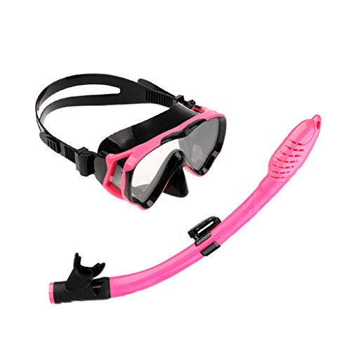 MonkeyJack Kids Junior Scuba Diving Swimming Comfortable Silicone Mask & Snorkel Set - Black and Pink