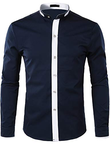 ZEROYAA Men's Hipster Banded Collar Slim Fit Long Sleeve Dress Shirt with Constrast Trim