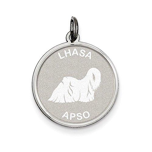 - Jewelry Adviser Charms Sterling Silver Lhasa Apso Disc Charm