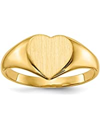 14K Yellow Gold Ring Band Signet 9.5x9.0mm Closed Back Heart, Size 8