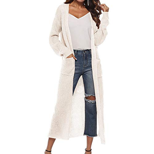 2019 New Spring Autumn Women Long Sleeve Knitwear Kimono Warm Sweater Cardigans Knitted Outerwear,White,L]()