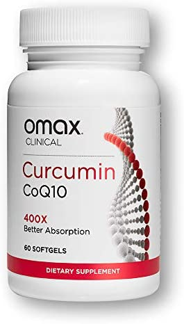 OMAX Tumeric Curcumin CoQ10 Supplement 400x More Bioavailable Curcumin Supports Heart Heath, Joint Support, Inflammation Support Bioavailable Form 60 Softgels