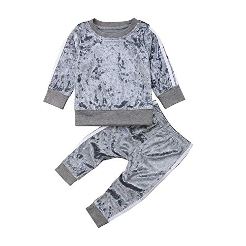 YOUNGER TREE Baby Girls Boys Velvet Long Sleeve Blouse Tops + Long Pants Outfits Set Coral Fleece Fall Clothes (Gray, 3-4T)