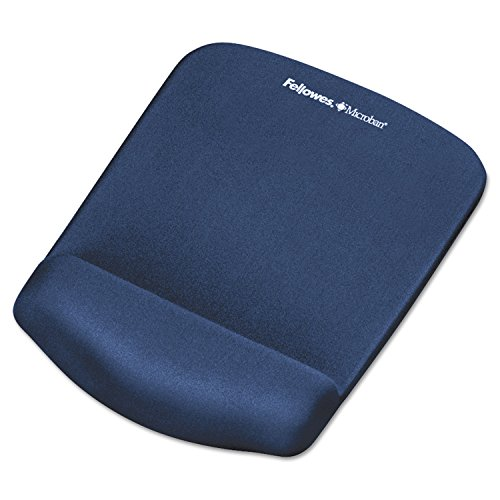 "Fellowes PlushTouch Mouse Pad with Wrist Rest, Foam, Blue, 7-1/4"" x 9-3/8"" -  FEL9287301"
