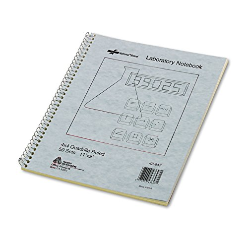 National Brand Wirebound Duplicate Laboratory Notebook, 50 4x4 Quad Ruled & Unruled Sets/Book (43647)