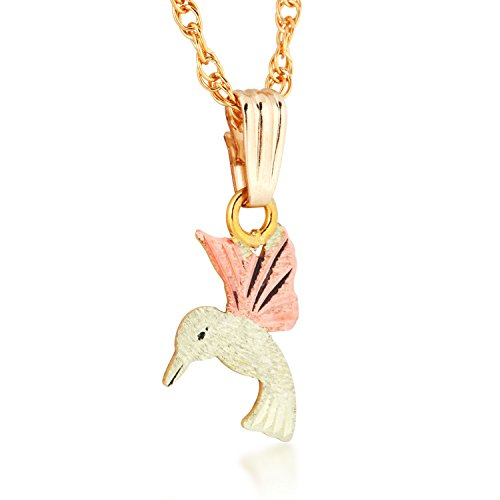 Diamond-Cut Humming Bird Pendant Necklace, 10k Yellow Gold, 12k Green and Rose Gold Black Hills Gold Motif, 18