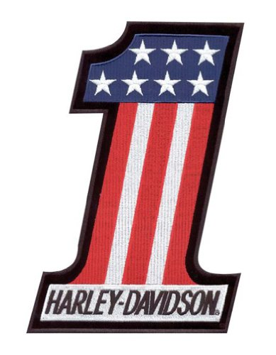 Harley-Davidson® #1 Red, White, and Blue Embroidered Patch. 2'' W x 2 5/8'' H. EM227841 (Harley One Davidson Patch)
