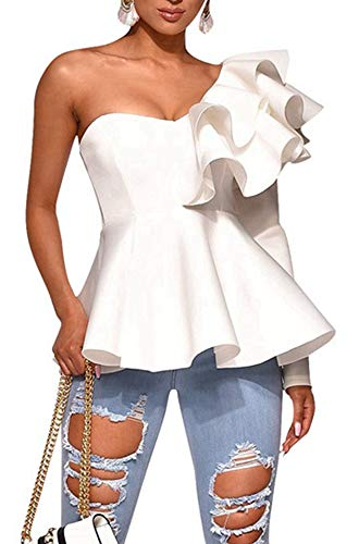 Blansdi Women Sexy One Off Shoulder Ruffles Blouses Long Sleeve Peplum Backless Tops Shirts (X-Large, White269)