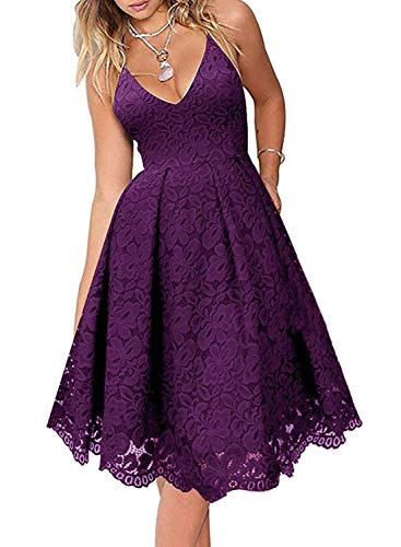 AlvaQ Women Floral Lace V Neck Spaghetti Straps Cocktail A-Line Dress Sleeveless Formal Bridesmail Midi Dresses Purple Small