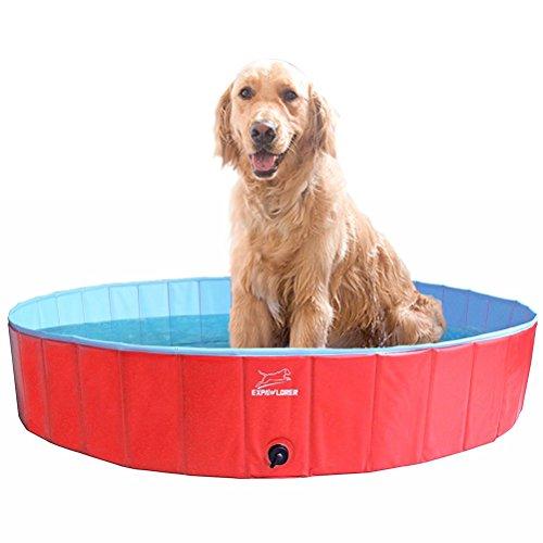 EXPAWLORER Foldable Dog Swimming Pool - Portable PVC Pet Bathing Tub for Dog Outdoor Yard, Dog Whelping Box -