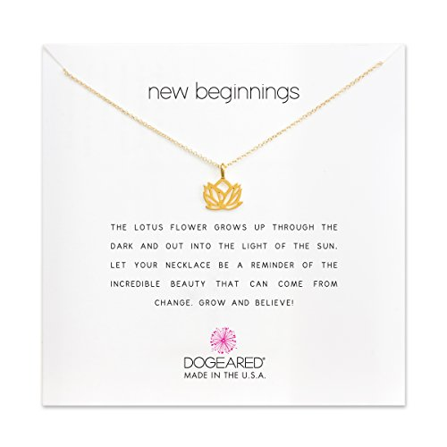 Make Dogeared A Necklace Wish (Dogeared New Beginnings Rising Lotus Gold Dipped 16