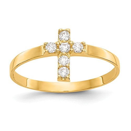 14k Yellow Gold Cubic Zirconia Cz Cross Religious Baby Band Ring Size 3.00 Fine Jewelry Gifts For Women For Her - Gold Crucifix Baby