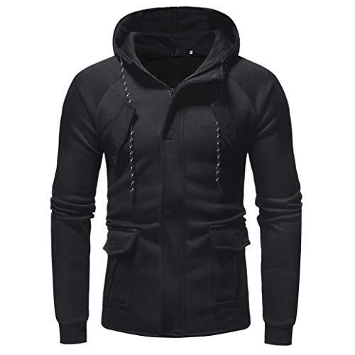 Sunhusing Men Casual Solid Color Sweater Zipper Closure Button Multi Pocket Hoodie Coat
