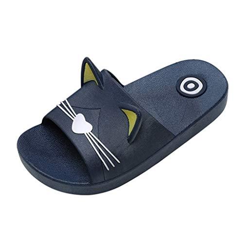 NEEKEY Kids Home Slippers Family Cartoon Cat Anti-Slip Indoor Outdoor Sandals for Girls and Boys
