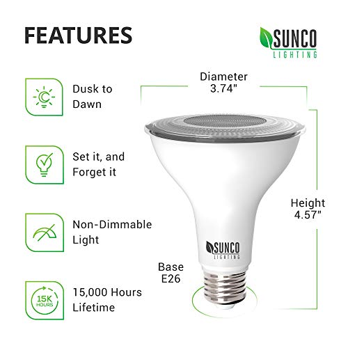 Sunco Lighting 4 Pack PAR30 LED Bulb, Dusk-to-Dawn Photocell Sensor, 11W=75W, 2700K Soft White, 850 LM, Auto On/Off Security Flood Light - UL