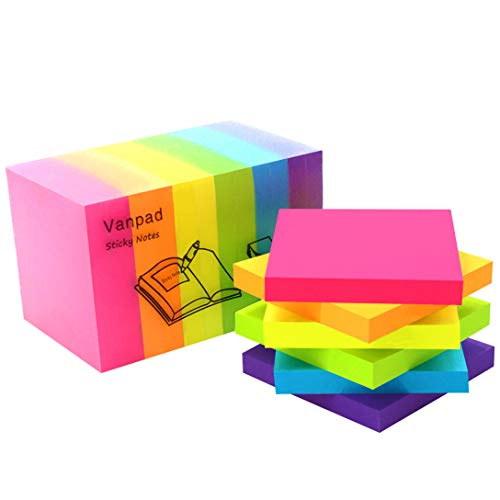 Vanpad Sticky Notes 3x3 Inches,100 Sheets/Pad,12 Pads/Pack,Bright Colors Self-Stick Pads
