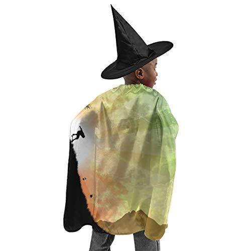 Skateboarder Girl Costume For Halloween (YUIOP Deluxe Halloween Children Costume Skateboarder Silhouette Tree Wizard Witch Cloak Cape Robe and Hat)