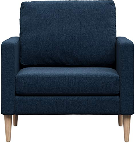 Campaign Steel Frame Brushed Weave Accent Chair, 33 Inches, Midnight Navy with Solid Maple Legs For Sale