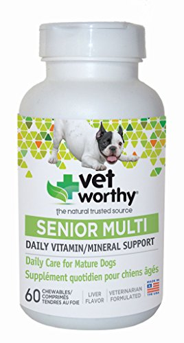 Vet Worthy Senior Multi Vitamin Liver Flavored Chewables for Dogs (60 Count) ()