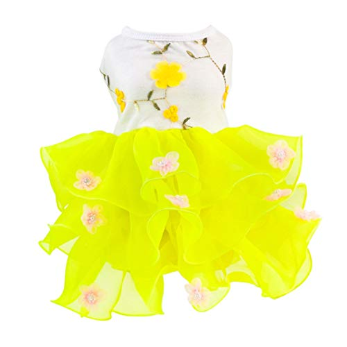 Adarl Summer Louver Pet Dress for Dog Cat Princess Blossom Tutu Dress Skirt Pet Costumes Apparel,Yellow B/S]()