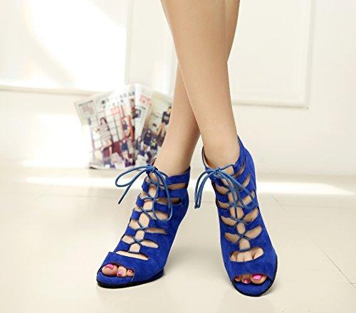 Cut Women's Up Blue Ankle Suede Out TDA Shoes Lace Dance 65dnwx