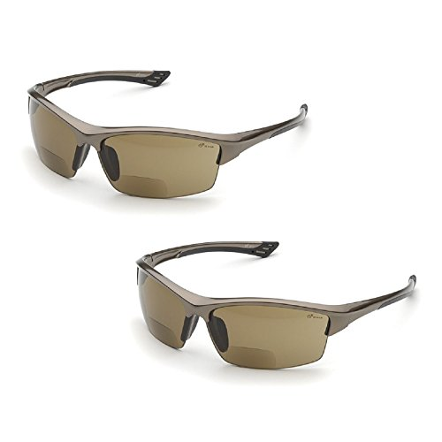 Elvex RX-350BR-2.0 Diopter Safety Glasses, Brown Lens (2 Pair) (2.0 Lens)