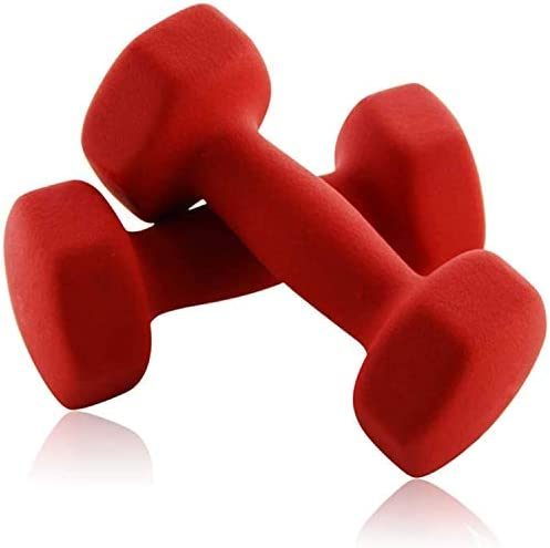 Portzon Set of two Neoprene Dumbbell Hand Weights, Anti-Slip, Anti-roll