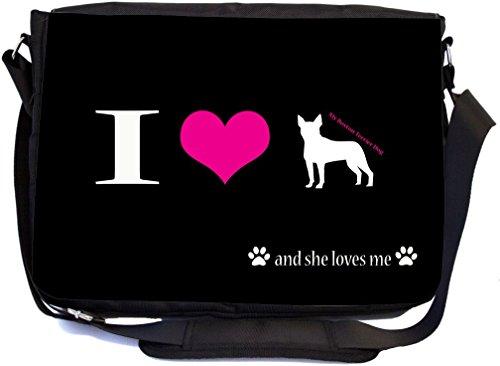 I Love My Boston Terrier Dog Design Premium School Messenger Bag + UKBK Wristlet (Bag Boston Messenger)