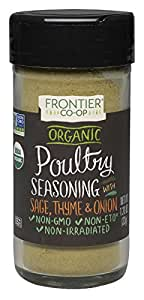 Frontier Poultry Seasoning Certified Organic, Salt-Free Blend, 1.2-Ounce Bottle