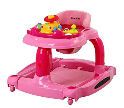 Dream On Me 2 in 1 Baby Tunes Musical Activity Walker and Rocker, Pink