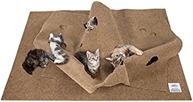 The Ripple Rug - Made in USA - Cat Activity Play Mat - Fun Interactive Play - Training - Scratching - Thermal Bed Mat
