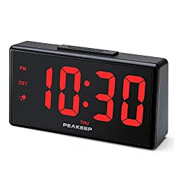 PEAKEEP Large Digital Alarm Clock with USB Charger and Nightlight, Dimmers, Big 1 3/4 inches Digits, High Low Loud Alarm Volume, Day, DST, AC Powered for Bedrooms Bedside (Red Digits)